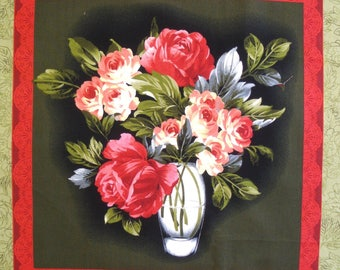 Patchwork Panel VASE of PEONIES n 2 tile fabric coupon