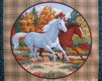 Patchwork panel fabric coupon sticker 2 horses (circle) n 2