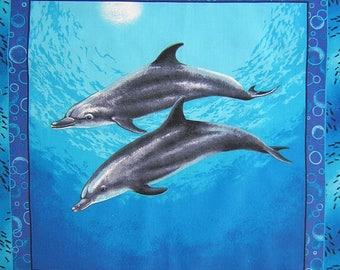 Patchwork panel fabric coupon sticker 2 dolphins No. 2