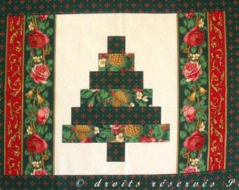 Fabric Christmas Patchwork Panel, Imitation PATCH coupon with gilding
