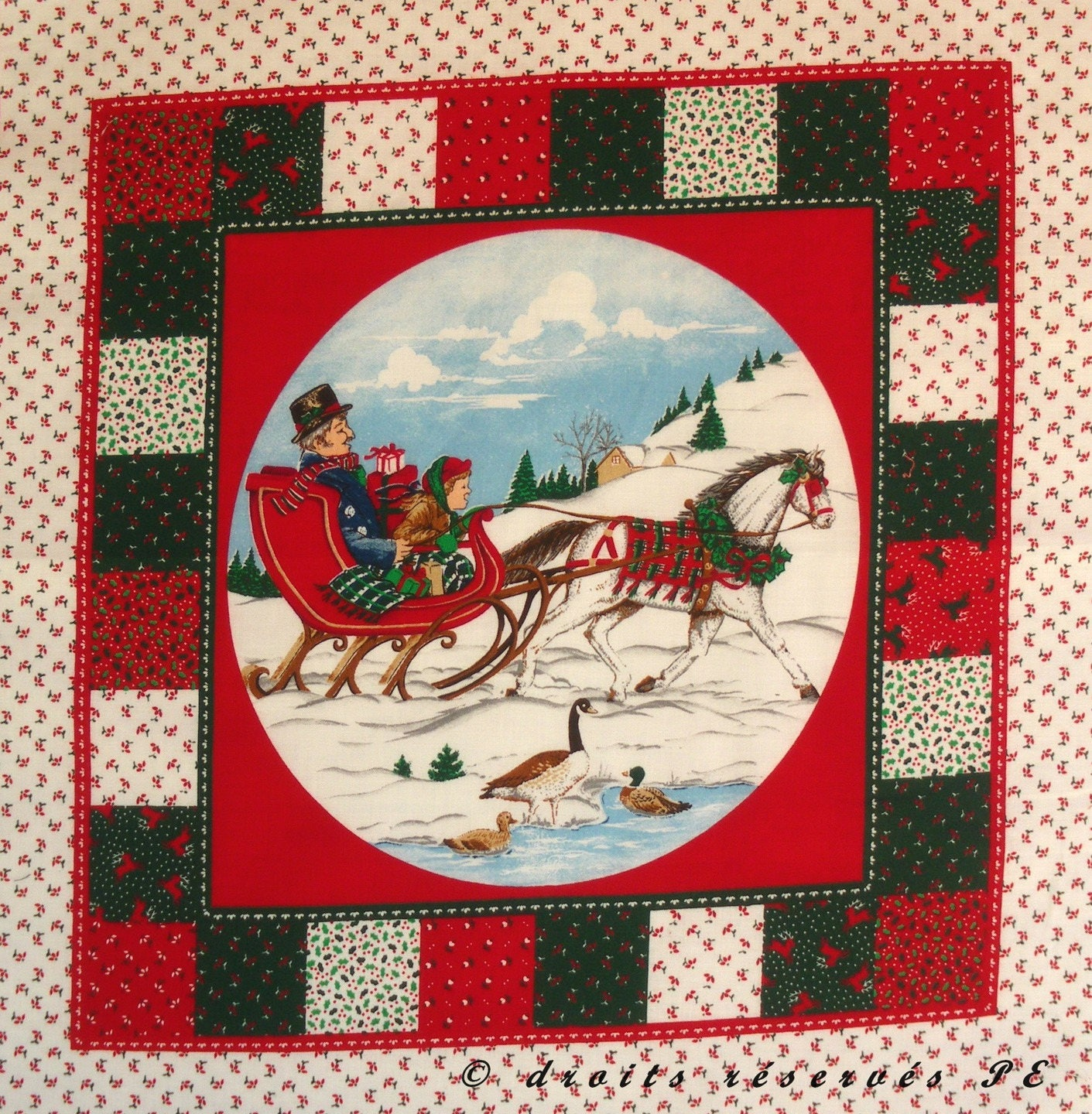 Fabric Christmas Patchwork Panel dad and daughter coupon