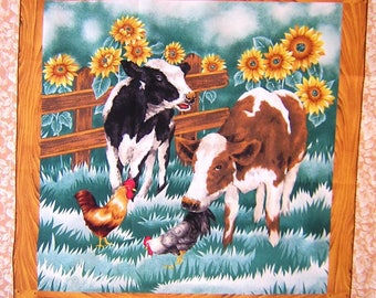 Patchwork panel fabric coupon sticker 2 CALVES sunflowers n 2