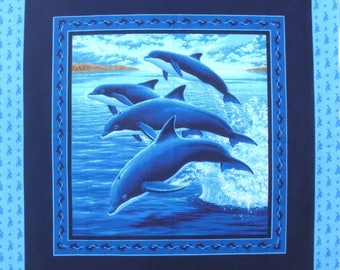 Patchwork panel fabric coupon thumbnail 4 dolphins