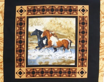Patchwork Panel tile horses in river fabric coupon