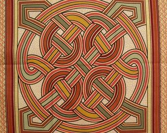 Patchwork Panel knots Celtic Browns n 1 tile fabric coupon