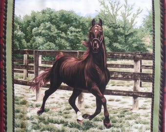 Coupon fabric patchwork Panel Thoroughbred sticker in the pen no. 2