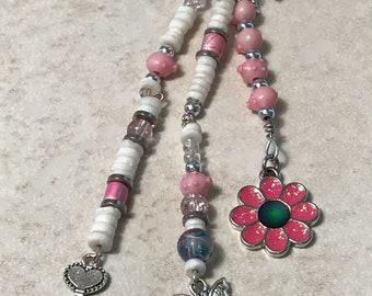 Pink Keychain, Pig Keychain, Pink Purse Charm, Pink Accessories, Pig Accessories, Purse Key Holder, Purse Keychain, Flower Keychain, Gift