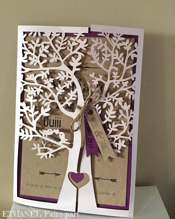 faire part mariage arbre cisel mariage theme nature arbre etsy. Black Bedroom Furniture Sets. Home Design Ideas