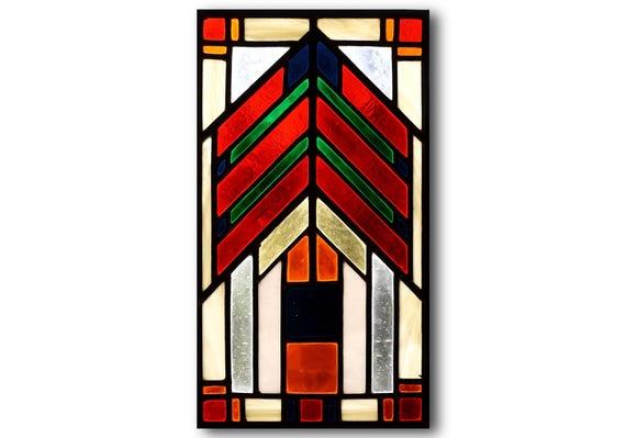Frank Lloyd Wright Stained Glass Patterns.Stained Glass Panel Frank Lloyd Wright Design Prairie Design Sun Catcher Home Decor Glass Art Decorative Art Gift
