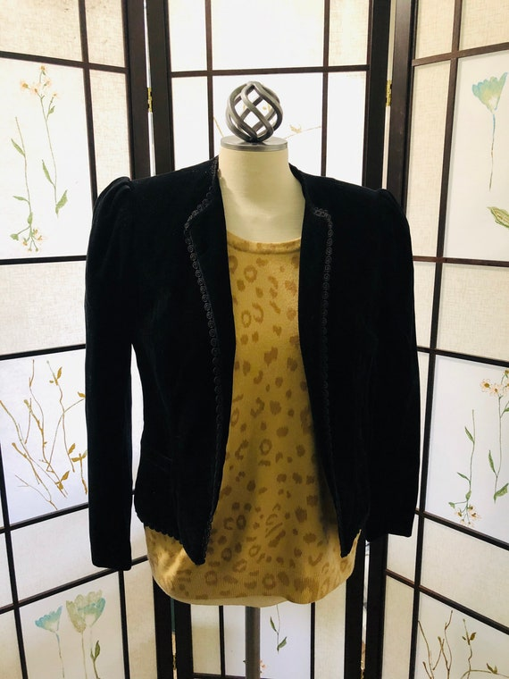 Vintage Gorgeous Velour Black Blazer - Made in To… - image 1