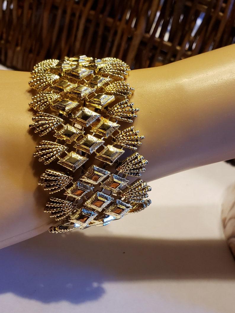 Vintage 1960s Coro Pegasus Gold Tone Wide Bracelet
