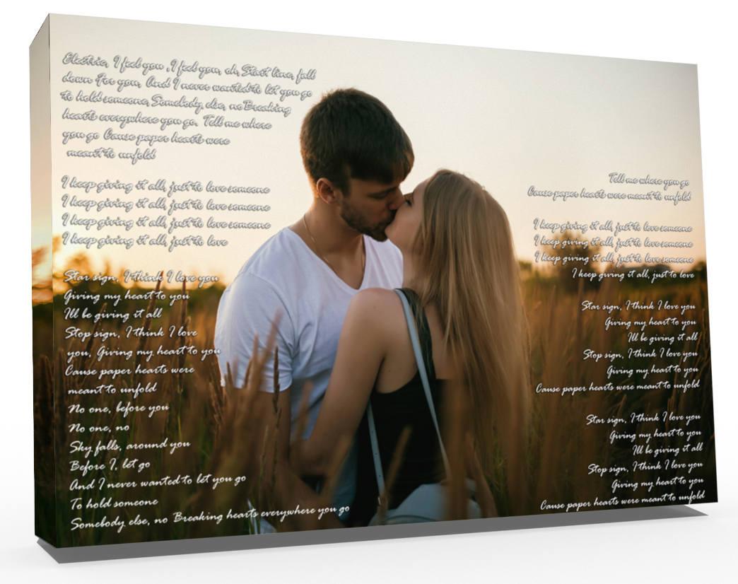 Love Song Lyrics Wedding Song Custom Canvas Print Vows On Etsy