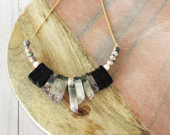 Jasper and Quartz Statement Necklace