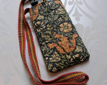 William Morris Arts and Crafts print cotton fabric quilted Neck Case  Phone Case Glasses Case with handwoven neck strap - choice of 7