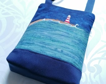 Mini Cross Body bag with adjustable strap embroidered with Roker Lighthouse  - Choice of three