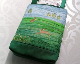 Summer embroidered Mini Cross Body bag with adjustable strap - Choice of Hares or Sheep