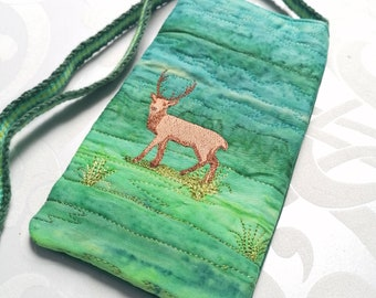 Embroidered Red Deer, Badger, Red Fox Neck case phone case glasses case with handwoven strap - choice of three