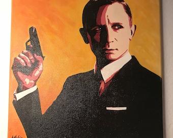 "Original ""James Bond"" Painting on Canvas"