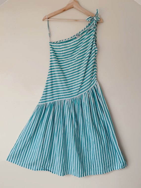Vintage 1980s Asymmetrical Striped Sundress by Adi