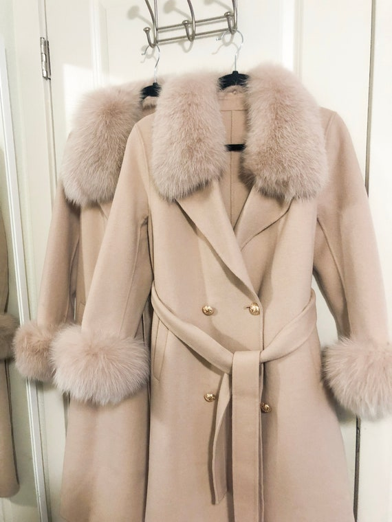Beautiful Blend Cashmere Coat With Fox Fur Trim by Etsy