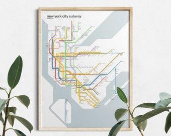 New York City Subway Map / NYC / Minimal Poster Print / Subway Style Wall Art / Canvas Home Decor / Travel Gift