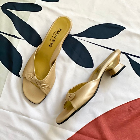 Vintage 90s Gold Sandal Mules - image 2