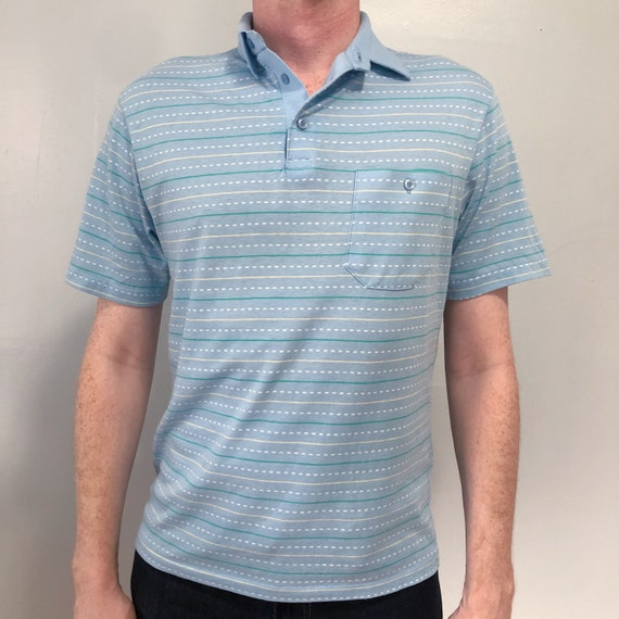 Vintage Baby Blue Striped Polo Shirt