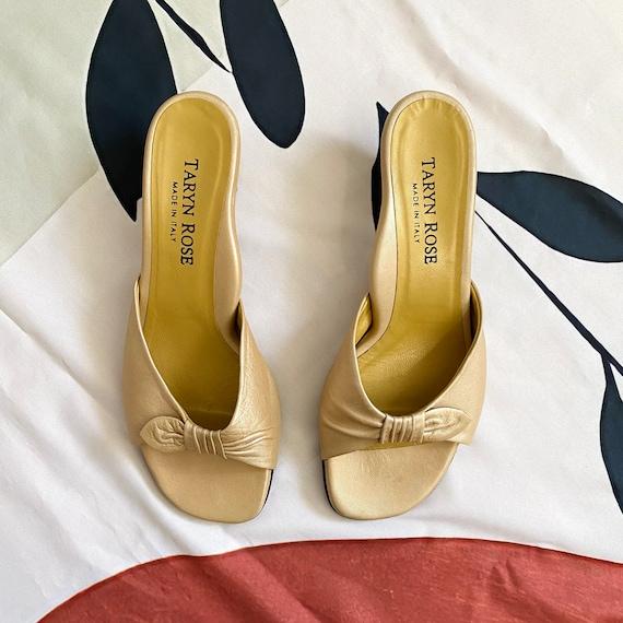 Vintage 90s Gold Sandal Mules - image 4