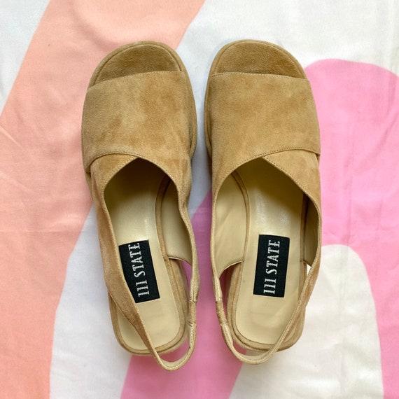 Vintage 90s Tan Suede Platform Sandals - image 2