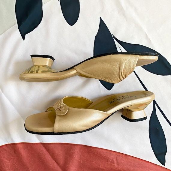 Vintage 90s Gold Sandal Mules - image 5