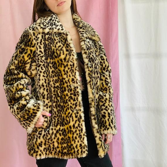 Vintage Y2k Leopard Faux Fur Coat