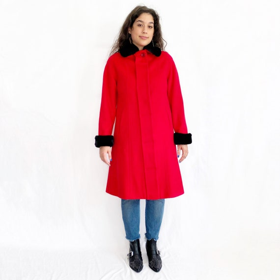 Vintage 90s Red and Black Fur Trim Overcoat