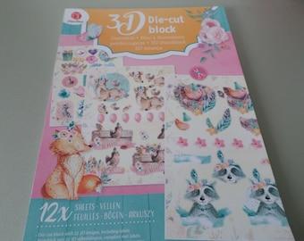 a63aa2b3ceb1f x 1 bloc de 12 mixte feuilles de die-cut vintage motif animaux rigolos  multicolore pour 3D prédécoupées 29