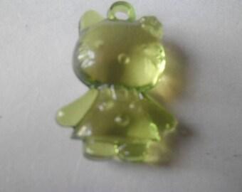x 1 pendant charm is a little green cat 35 x 20 mm