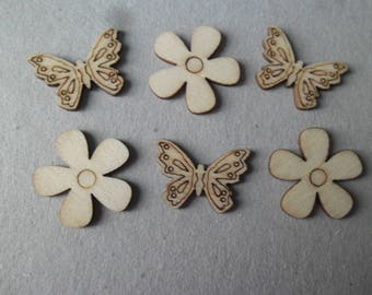 x 6 natural wooden butterflies and flowers 23 x 18 mm-25 mm embellishments