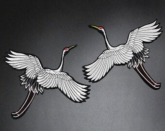 x 1 pair of badge/patch applique bird Stork crane @69 fusible