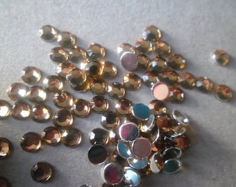 x 100 rhinestone paste light brown faceted 4 mm