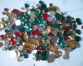 x 285 mixed rhinestones/diamonds 3 color facet sticking acrylic