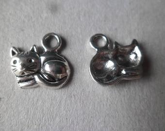 adorable kitten lying x 5 charm pendants silver 15 x 13 mm