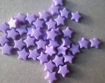 x 50 beads charm star with five purple rays acrylic 9 x 9 mm
