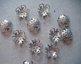 x 50 pearls filigree flower silver 10 x 4 mm pr beads 10 mm