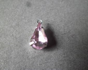 1 x 13 x 6 mm Pink Rhinestone drop