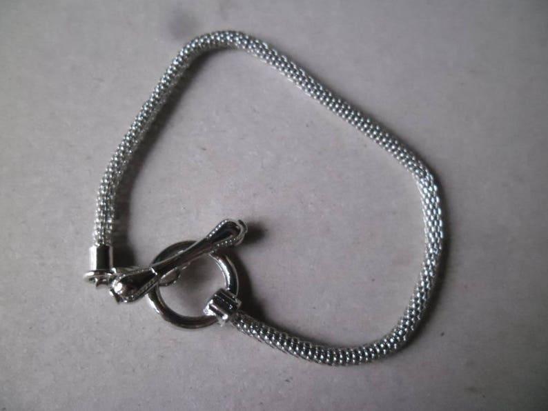 x 1 snake European 20 cm Matt Silver Clasptoggle clasp bracelet