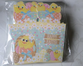 x 5 box Easter duckling pattern cardstock + straw synthetic blue/fold 16 x 14.5 cm(ouvert 10 x 7 cm)