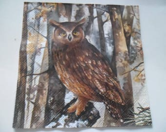 1 napkin Brown double OWL picture 33 x 33 cm
