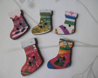 x 5 mixed buttons wood 2 hole 2.3 x 1 cm Christmas sock pattern