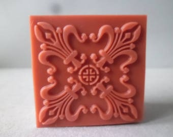 x 1 rubber stamp new wooden square lace/flower 4 X 4 CM