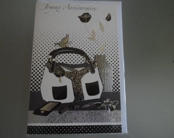 x 1 card double birthday representing a purse and accessories black, white silver, gold + envelope 17,5 x 11,5 cm