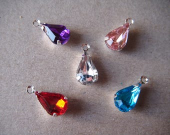 set of 5 pendants drops water 13 x 6 mm rhinestones