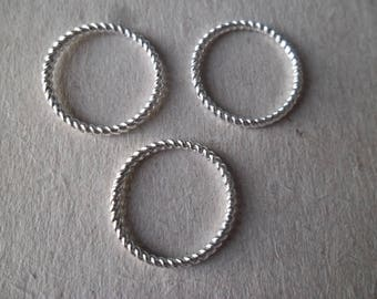 x 10 circles rings close crafted 18 mm silver connector pendant